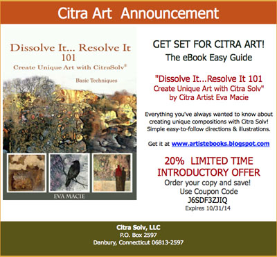 Robert burridge studio artsyfartsy news augustseptember 2014 citra art is promoting a new book by citra artist eva macie on how to use citrasolv on national geographic magazines to create beautiful collage papers fandeluxe Gallery